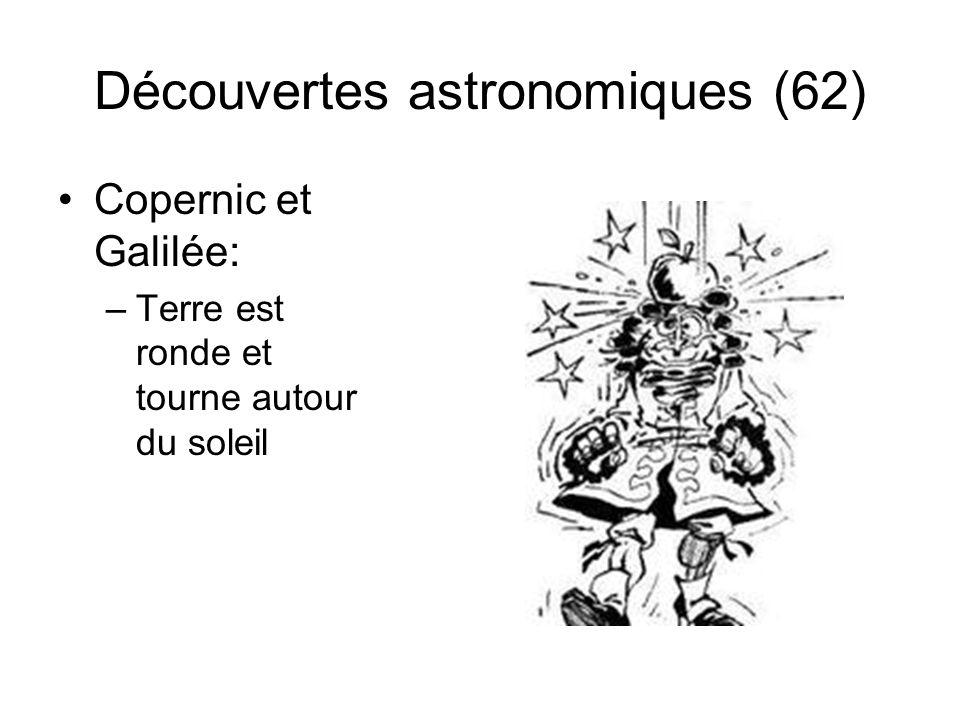 Découvertes astronomiques (62) Copernic et Galilée: –Terre est ronde et tourne autour du soleil