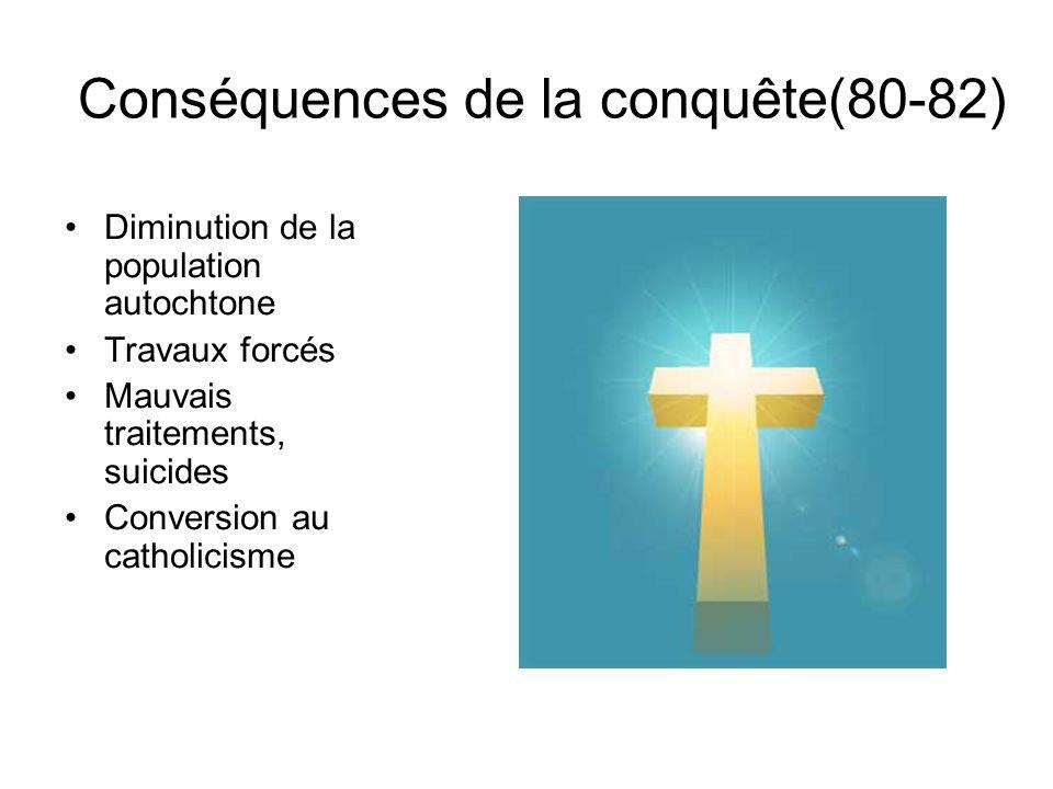 Conséquences de la conquête(80-82) Diminution de la population autochtone Travaux forcés Mauvais traitements, suicides Conversion au catholicisme