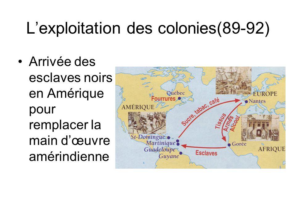 Lexploitation des colonies(89-92) Arrivée des esclaves noirs en Amérique pour remplacer la main dœuvre amérindienne