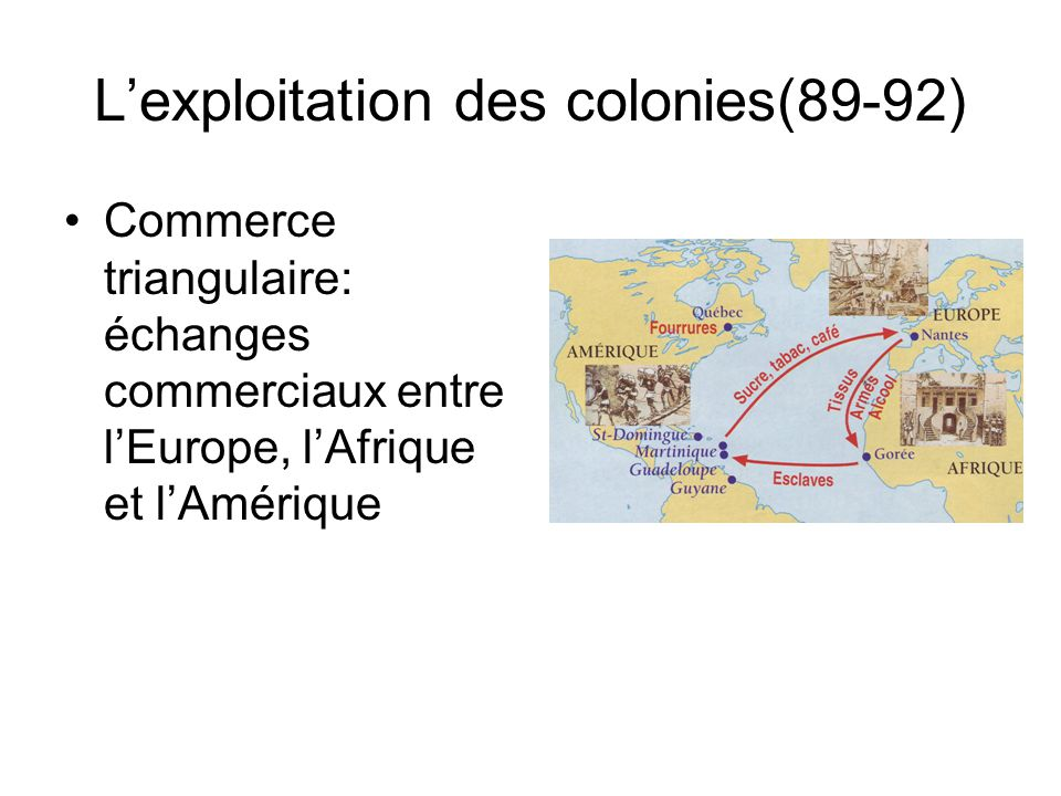 Lexploitation des colonies(89-92) Commerce triangulaire: échanges commerciaux entre lEurope, lAfrique et lAmérique