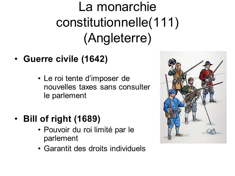 La monarchie constitutionnelle(111) (Angleterre) Guerre civile (1642) Le roi tente dimposer de nouvelles taxes sans consulter le parlement Bill of rig