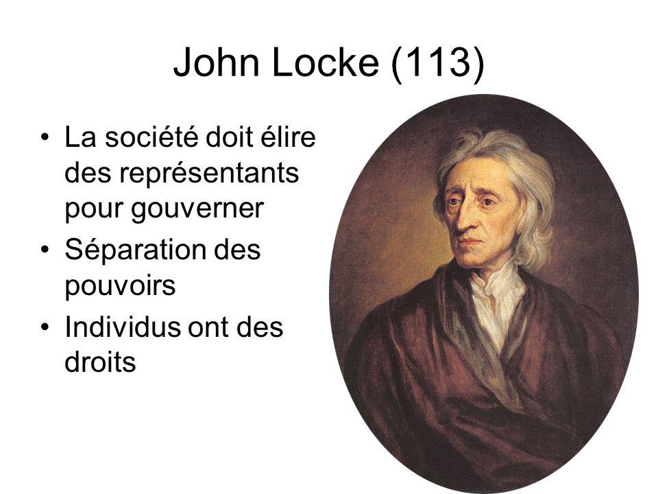 John Locke (113) La société doit élire des représentants pour gouverner Séparation des pouvoirs Individus ont des droits