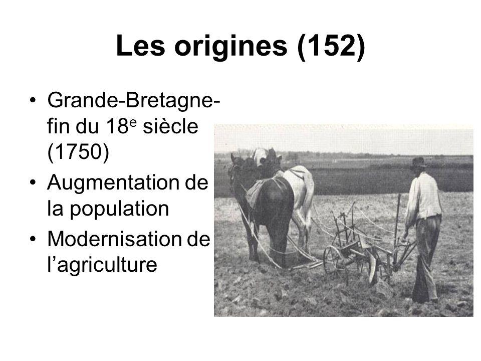Les origines (152) Grande-Bretagne- fin du 18 e siècle (1750) Augmentation de la population Modernisation de lagriculture
