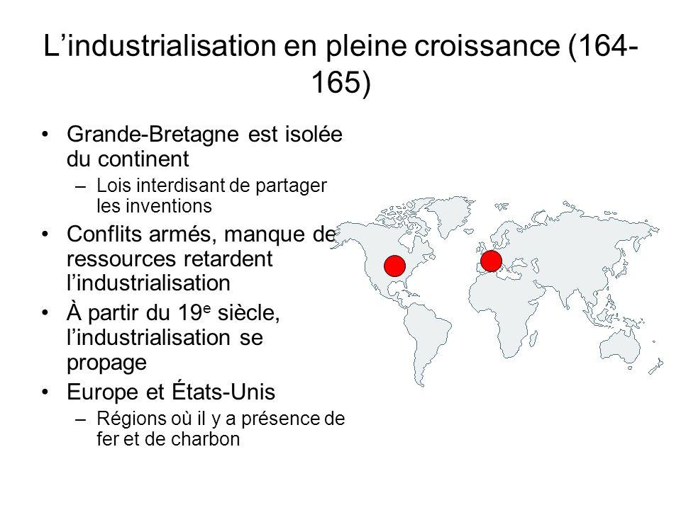 Lindustrialisation en pleine croissance (164- 165) Grande-Bretagne est isolée du continent –Lois interdisant de partager les inventions Conflits armés