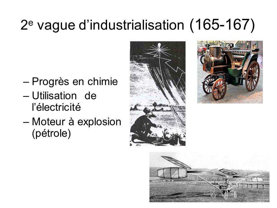 2 e vague dindustrialisation (165-167) –Progrès en chimie –Utilisation de lélectricité –Moteur à explosion (pétrole)