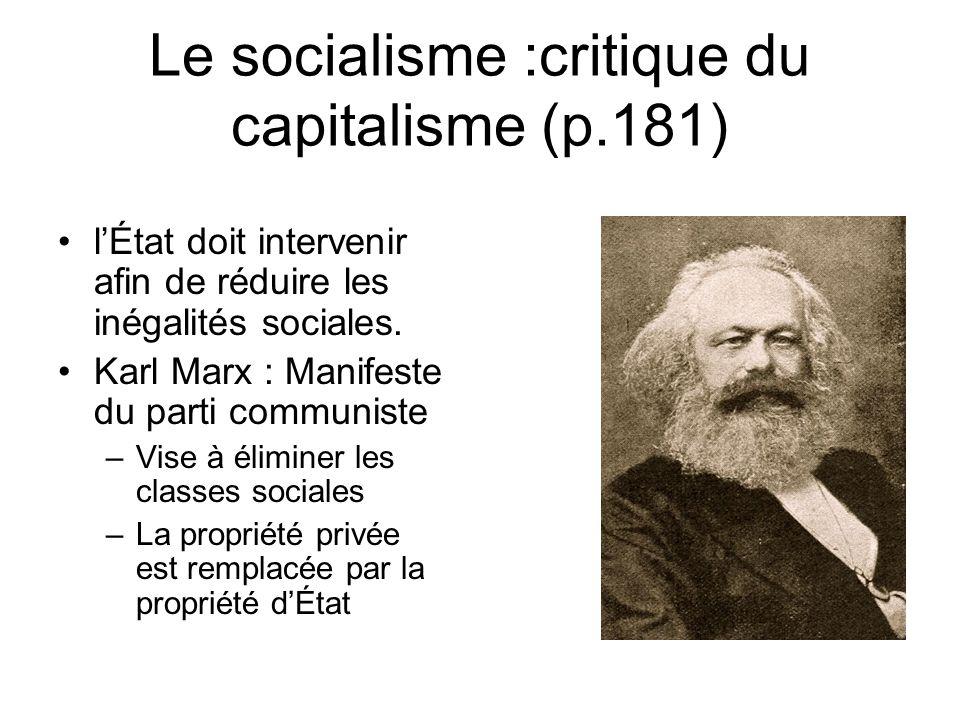 Le socialisme :critique du capitalisme (p.181) lÉtat doit intervenir afin de réduire les inégalités sociales. Karl Marx : Manifeste du parti communist