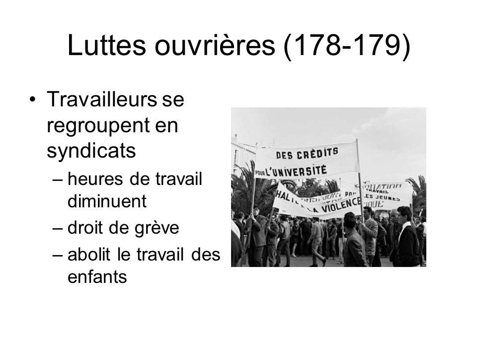 Luttes ouvrières (178-179) Travailleurs se regroupent en syndicats –heures de travail diminuent –droit de grève –abolit le travail des enfants