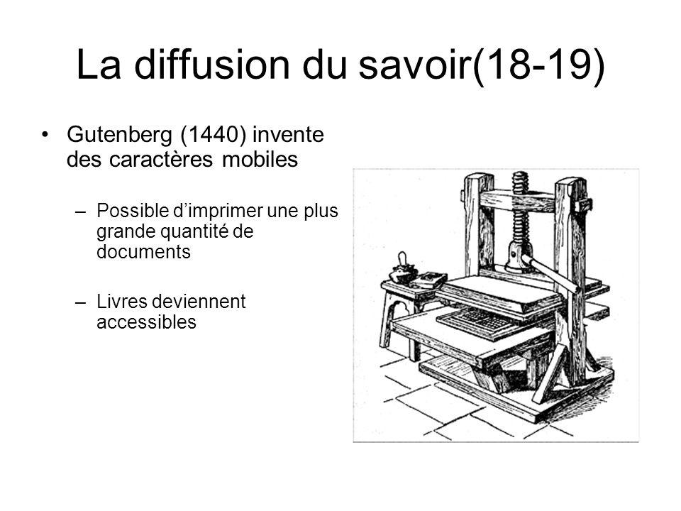 La diffusion du savoir(18-19) Gutenberg (1440) invente des caractères mobiles –Possible dimprimer une plus grande quantité de documents –Livres devien