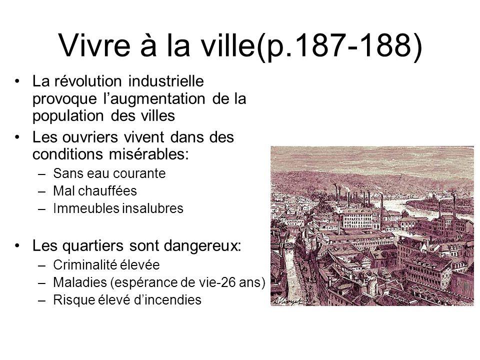 Vivre à la ville(p.187-188) La révolution industrielle provoque laugmentation de la population des villes Les ouvriers vivent dans des conditions misé