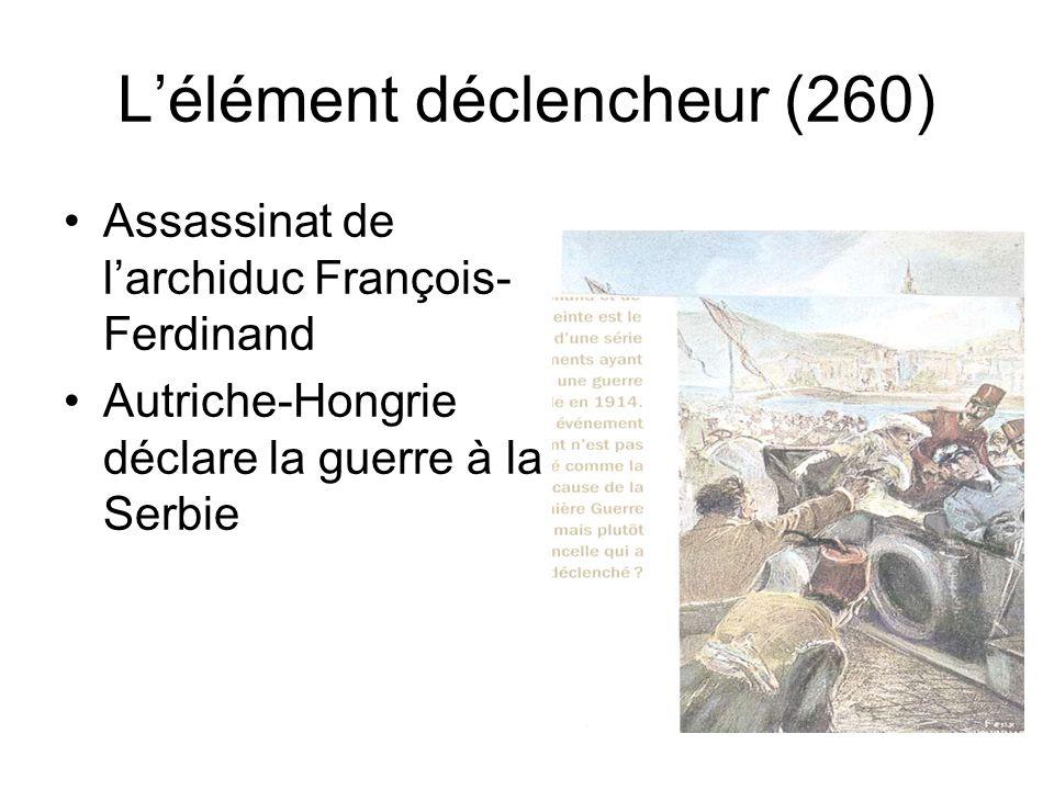 Lélément déclencheur (260) Assassinat de larchiduc François- Ferdinand Autriche-Hongrie déclare la guerre à la Serbie
