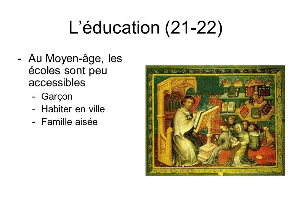 Léducation (21-22) -Au Moyen-âge, les écoles sont peu accessibles -Garçon -Habiter en ville -Famille aisée