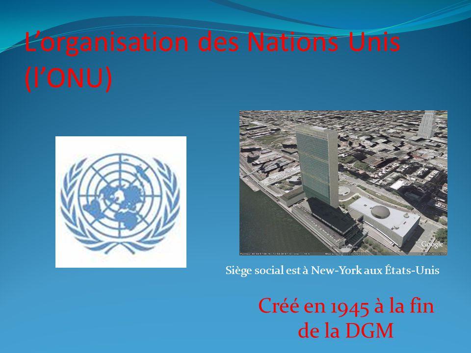 Lorganisation des Nations Unis (lONU) Siège social est à New-York aux États-Unis Créé en 1945 à la fin de la DGM