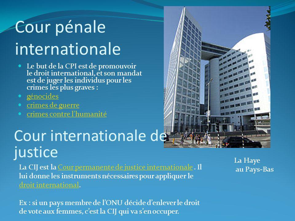 Cour pénale internationale Le but de la CPI est de promouvoir le droit international, et son mandat est de juger les individus pour les crimes les plu