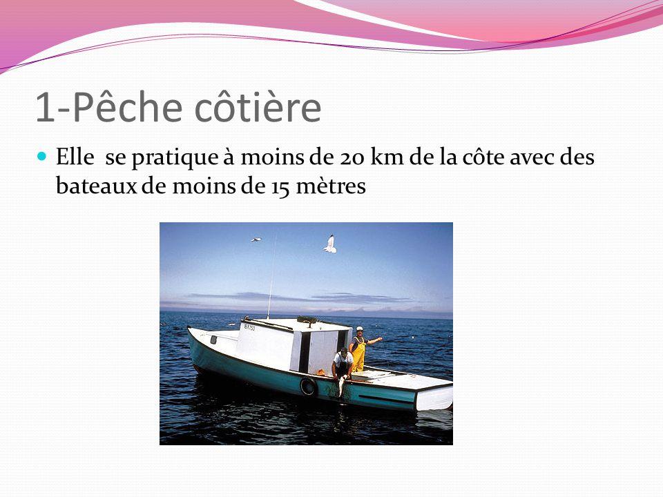 1-Pêche côtière Elle se pratique à moins de 20 km de la côte avec des bateaux de moins de 15 mètres