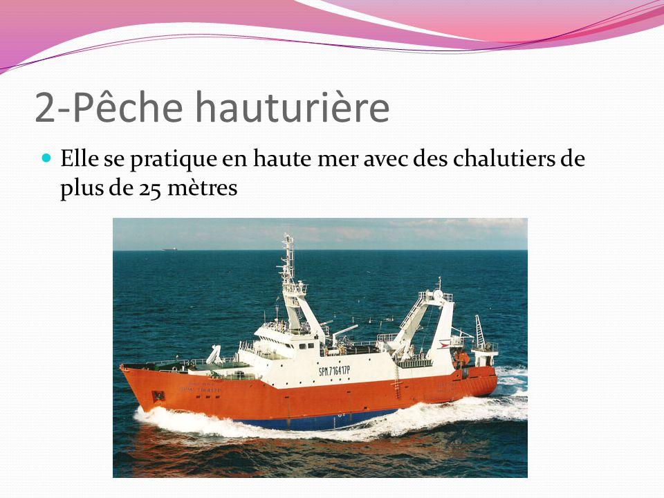 2-Pêche hauturière Elle se pratique en haute mer avec des chalutiers de plus de 25 mètres