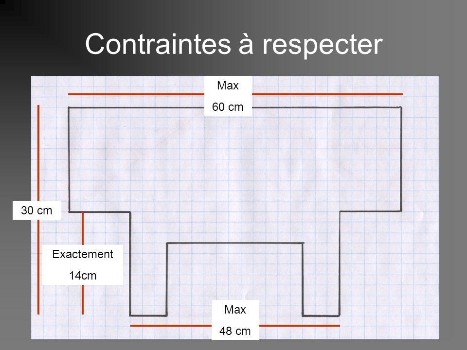 suite… contraintes à respecter 15 cm 10 cm 30 cm