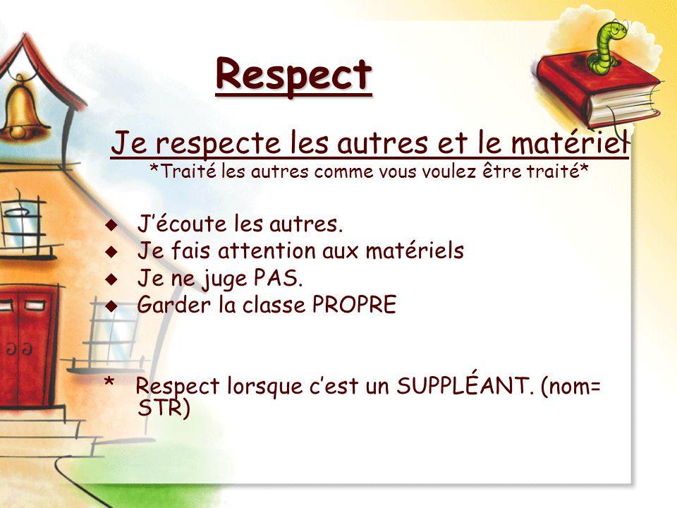 Respect Je respecte les autres et le matériel *Traité les autres comme vous voulez être traité* Jécoute les autres. Je fais attention aux matériels Je
