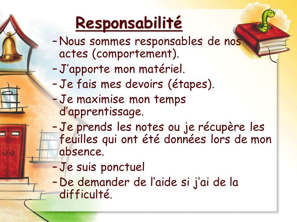 Responsabilité –Nous sommes responsables de nos actes (comportement). –Japporte mon matériel. –Je fais mes devoirs (étapes). –Je maximise mon temps da