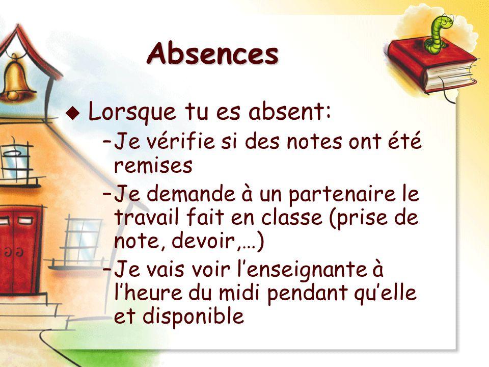 Absences Lorsque tu es absent: –Je vérifie si des notes ont été remises –Je demande à un partenaire le travail fait en classe (prise de note, devoir,…
