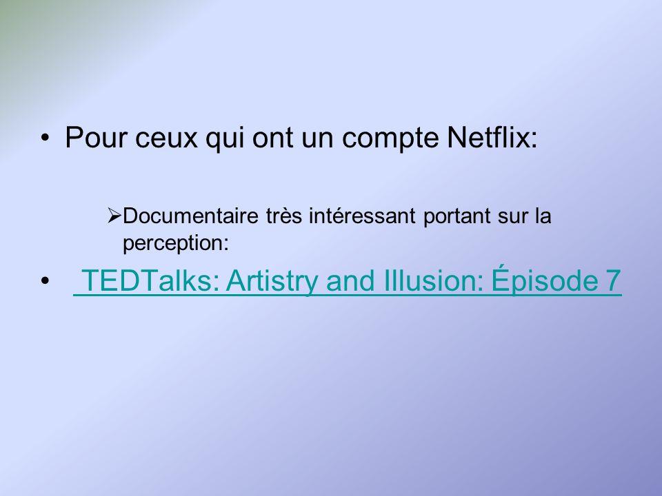 Pour ceux qui ont un compte Netflix: Documentaire très intéressant portant sur la perception: TEDTalks: Artistry and Illusion: Épisode 7