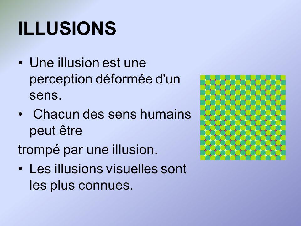 ILLUSIONS Une illusion est une perception déformée d un sens.