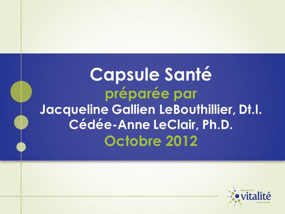 Capsule Santé préparée par Jacqueline Gallien LeBouthillier, Dt.I. Cédée-Anne LeClair, Ph.D. Octobre 2012
