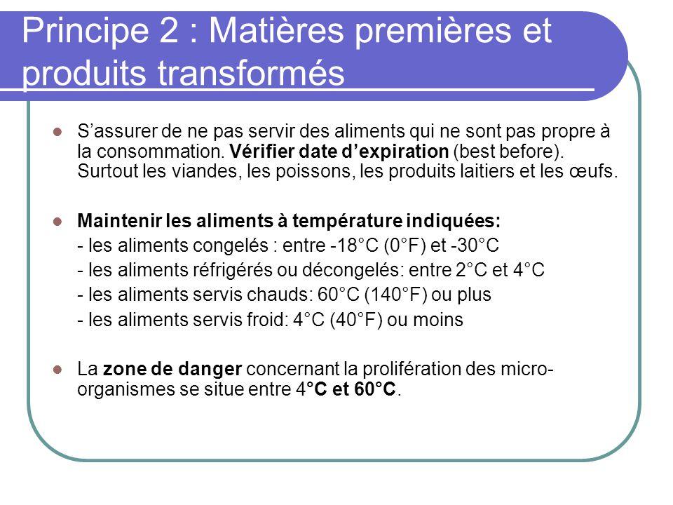 Principe 2 : Matières premières et produits transformés Sassurer de ne pas servir des aliments qui ne sont pas propre à la consommation.