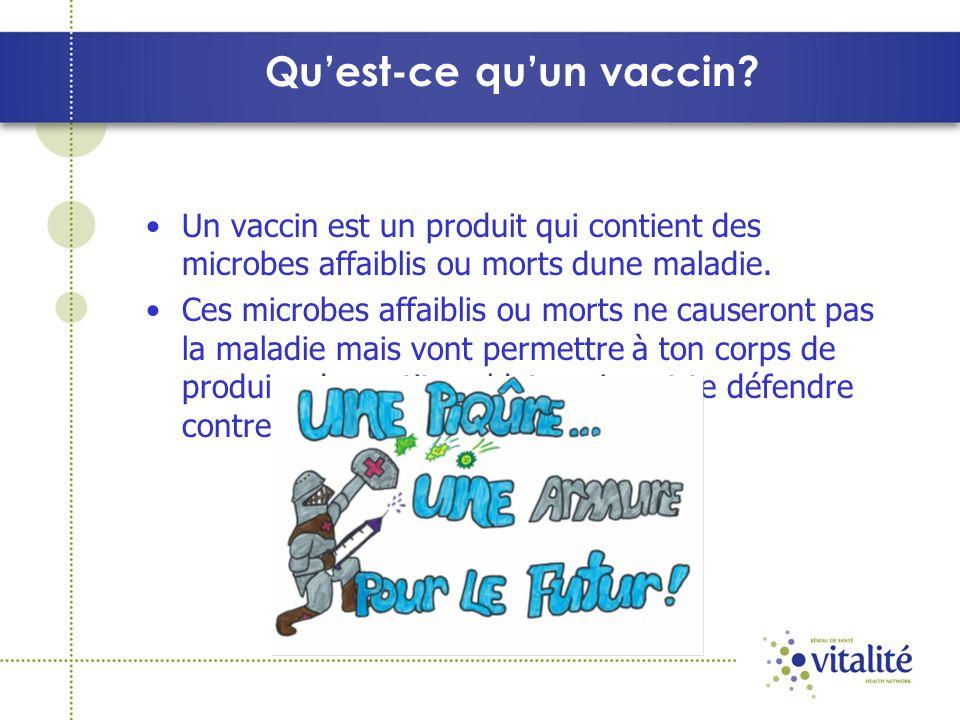 Quest-ce quun vaccin? Un vaccin est un produit qui contient des microbes affaiblis ou morts dune maladie. Ces microbes affaiblis ou morts ne causeront