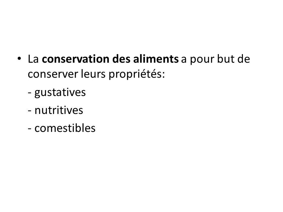 La conservation des aliments a pour but de conserver leurs propriétés: - gustatives - nutritives - comestibles