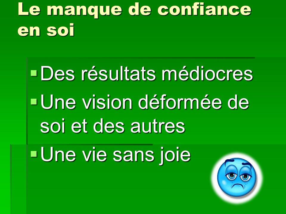 Le manque de confiance en soi Des résultats médiocres Des résultats médiocres Une vision déformée de soi et des autres Une vision déformée de soi et d