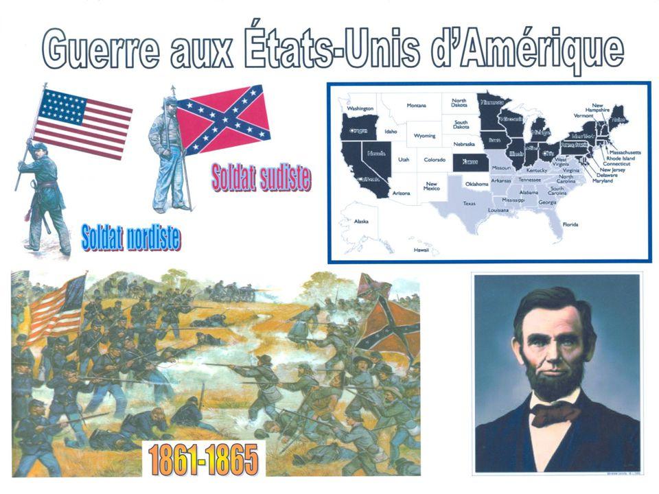 La Guerre Civile Américaine (Sécession) est un conflit militaire entre les États du nord (nordiste) et les États du sud (sudiste) qui va commencer en 1861.