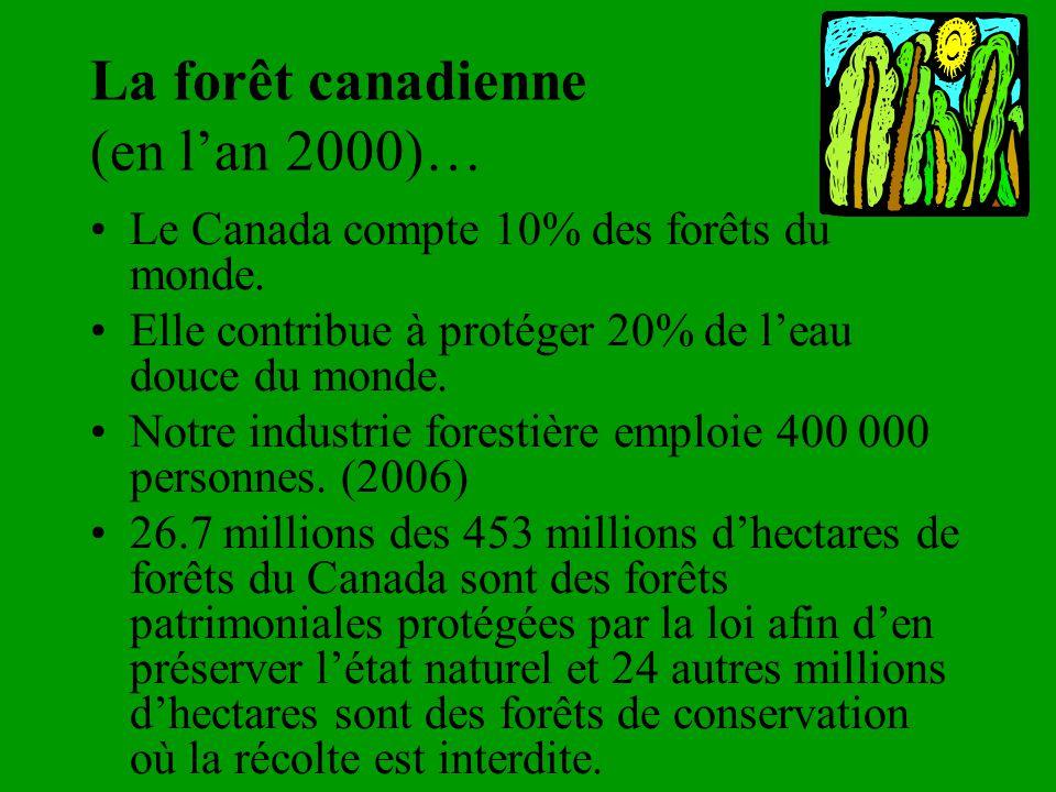 La forêt canadienne (en lan 2000)… Le Canada compte 10% des forêts du monde. Elle contribue à protéger 20% de leau douce du monde. Notre industrie for