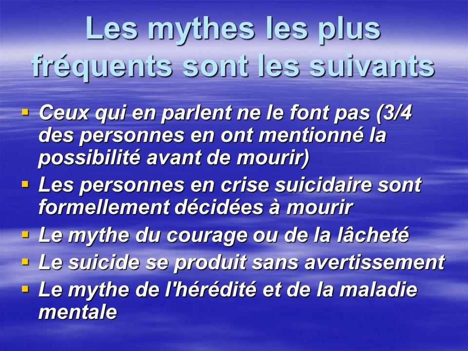 Les mythes les plus fréquents sont les suivants Ceux qui en parlent ne le font pas (3/4 des personnes en ont mentionné la possibilité avant de mourir)