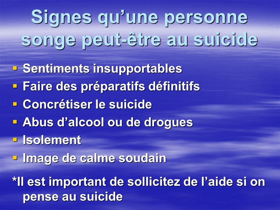 Signes quune personne songe peut-être au suicide Sentiments insupportables Sentiments insupportables Faire des préparatifs définitifs Faire des prépar