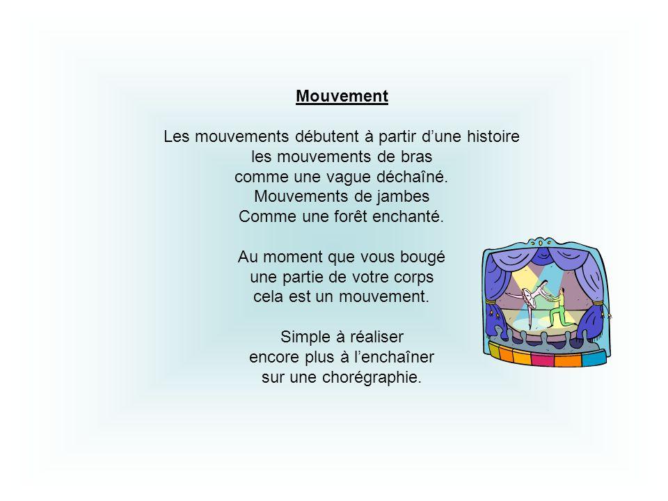 Mouvement Les mouvements débutent à partir dune histoire les mouvements de bras comme une vague déchaîné. Mouvements de jambes Comme une forêt enchant