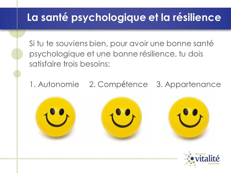 La santé psychologique et la résilience Si tu te souviens bien, pour avoir une bonne santé psychologique et une bonne résilience, tu dois satisfaire trois besoins: 1.Autonomie 2.