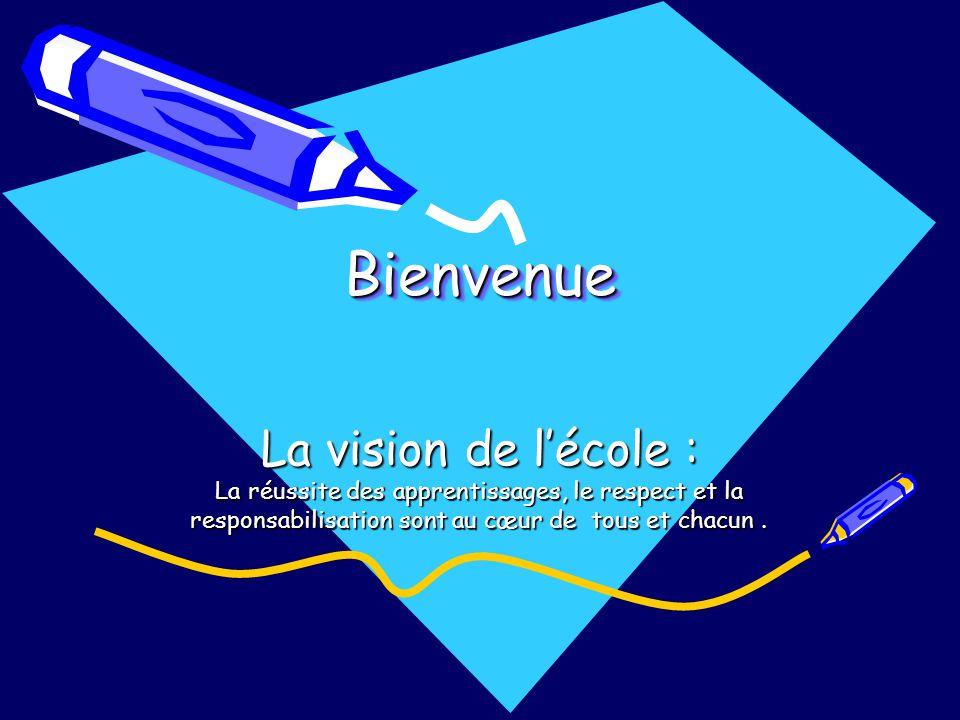 BienvenueBienvenue La vision de lécole : La réussite des apprentissages, le respect et la responsabilisation sont au cœur de tous et chacun.
