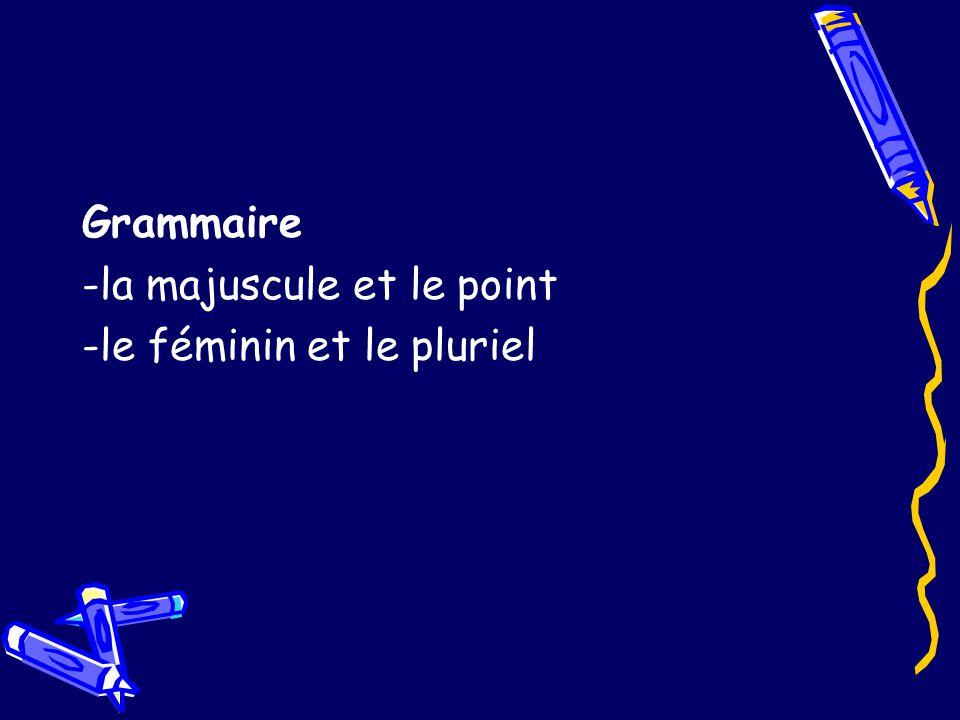 Grammaire -la majuscule et le point -le féminin et le pluriel