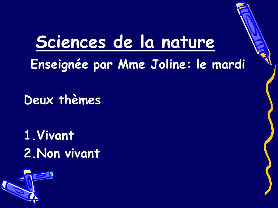 Sciences de la nature Enseignée par Mme Joline: le mardi Deux thèmes 1.Vivant 2.Non vivant