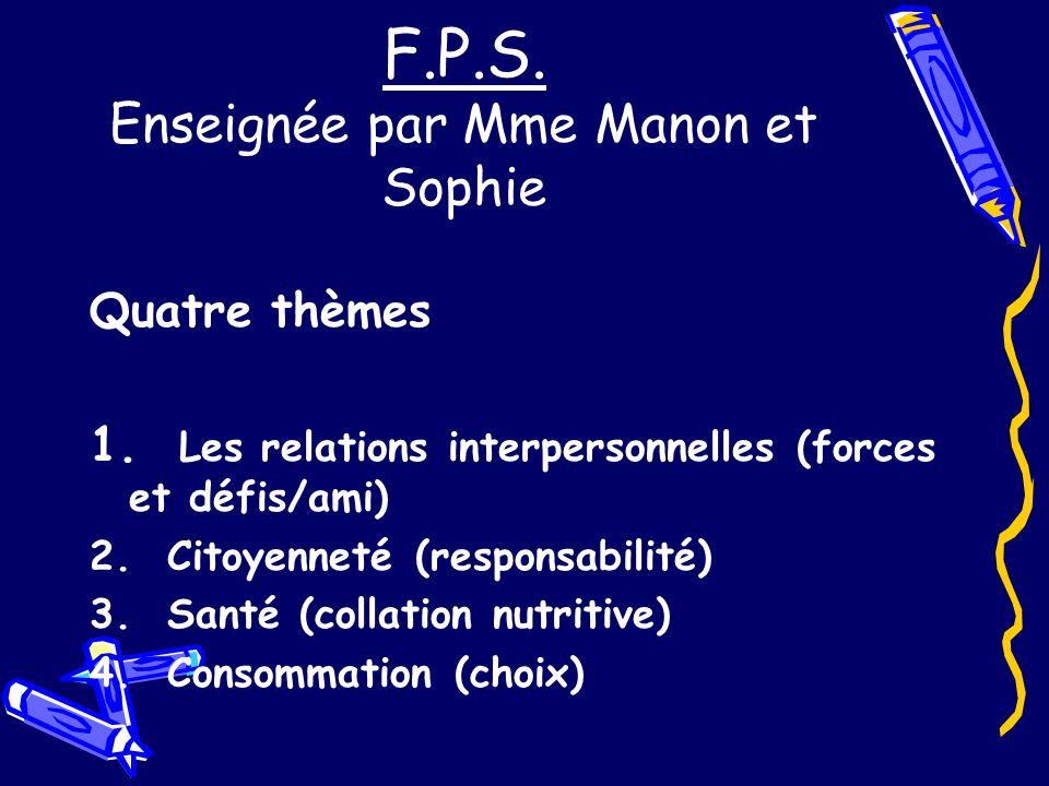 F.P.S. Enseignée par Mme Manon et Sophie Quatre thèmes 1.