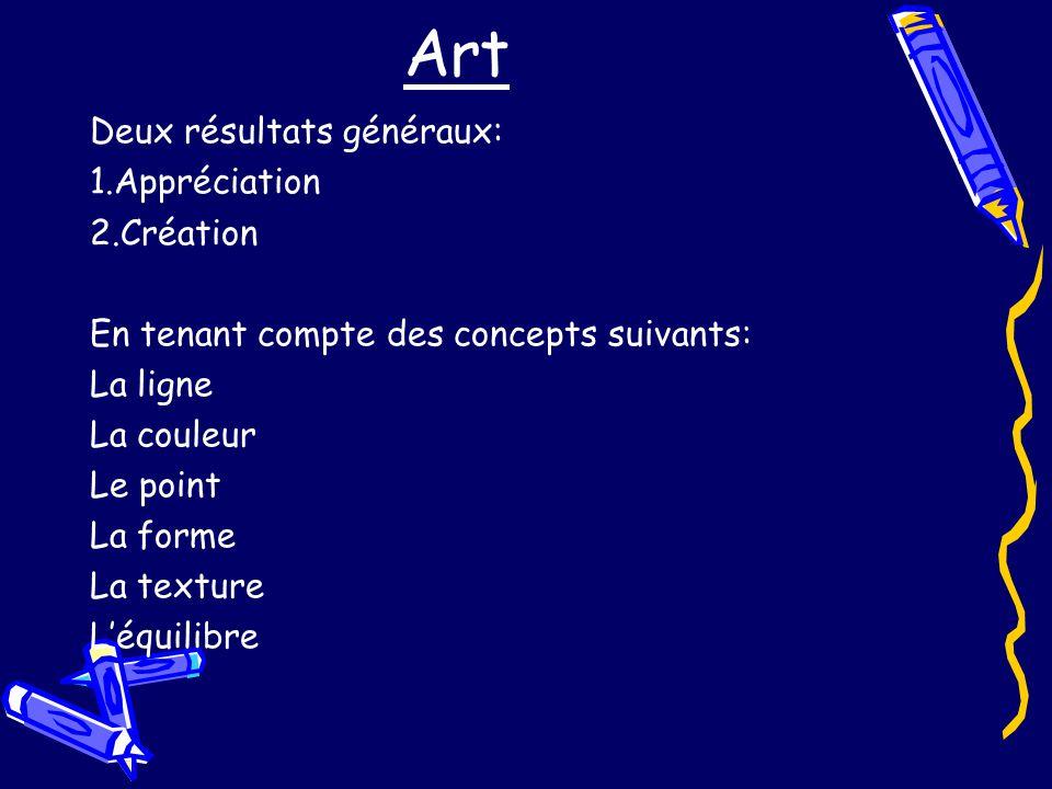 Art Deux résultats généraux: 1.Appréciation 2.Création En tenant compte des concepts suivants: La ligne La couleur Le point La forme La texture Léquilibre