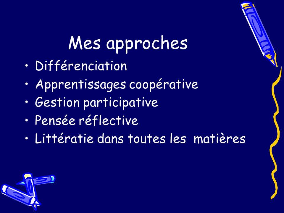 Mes approches Différenciation Apprentissages coopérative Gestion participative Pensée réflective Littératie dans toutes les matières