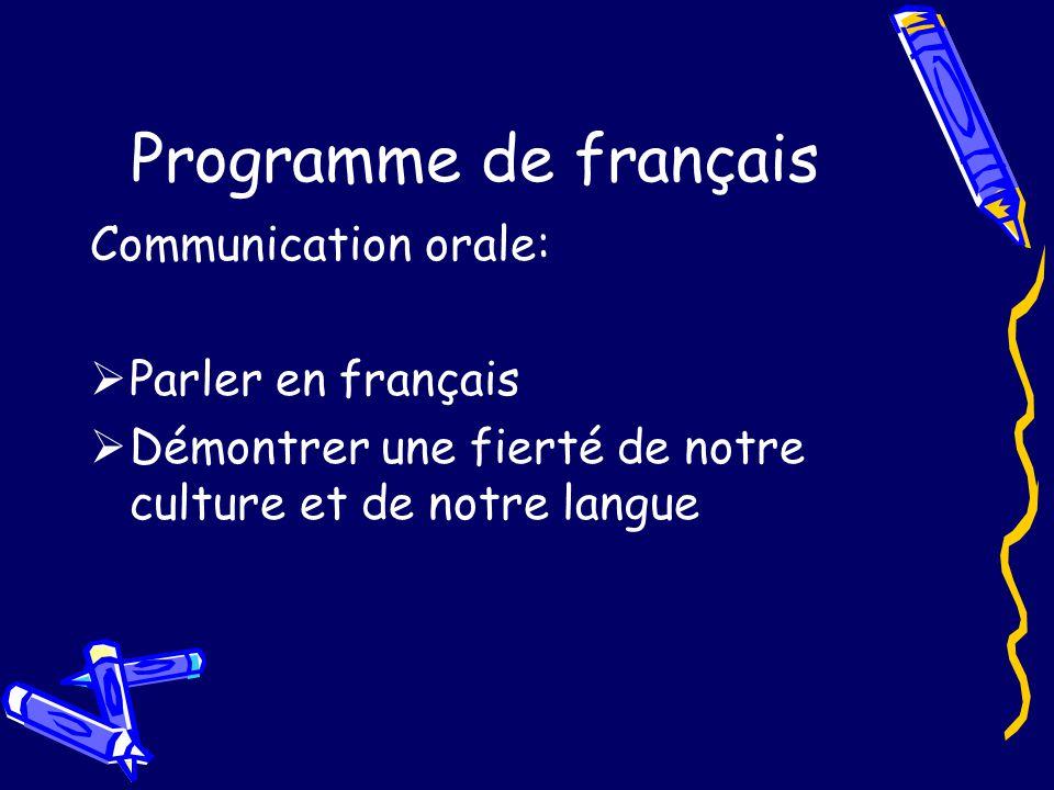 Programme de français Communication orale: Parler en français Démontrer une fierté de notre culture et de notre langue