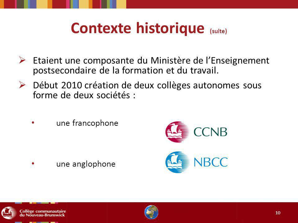 Contexte historique (suite) 10 Etaient une composante du Ministère de lEnseignement postsecondaire de la formation et du travail. Début 2010 création
