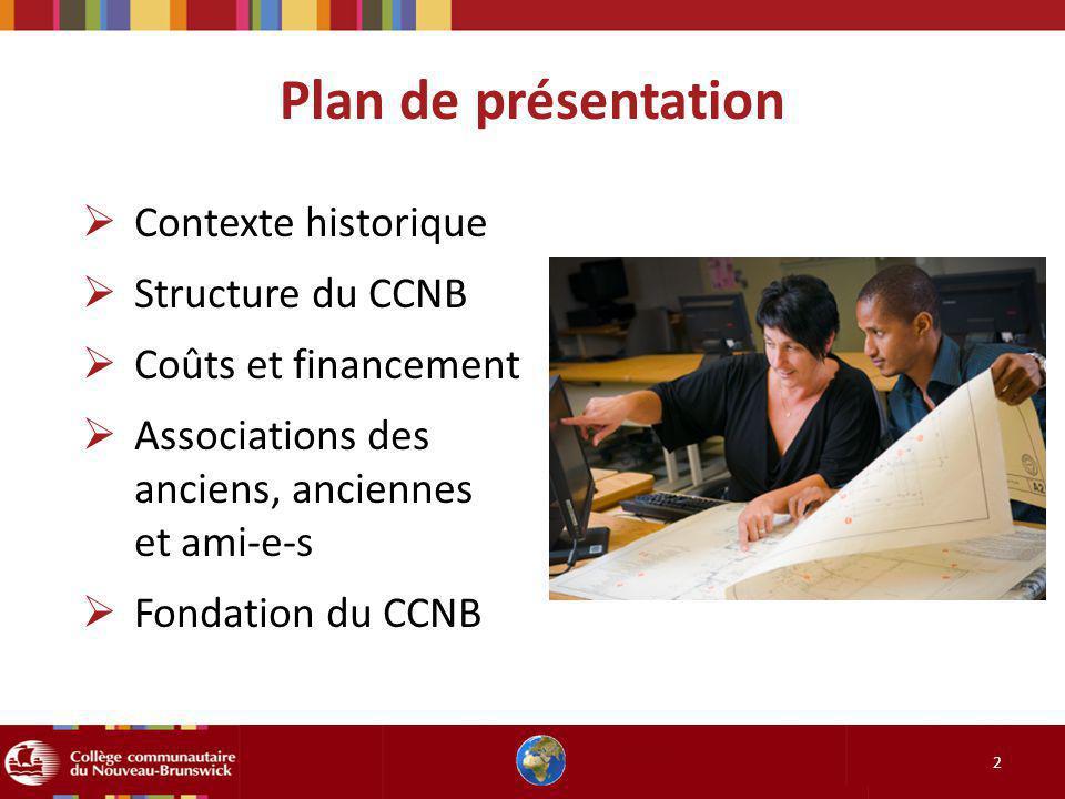 Plan de présentation Contexte historique Structure du CCNB Coûts et financement Associations des anciens, anciennes et ami-e-s Fondation du CCNB 2