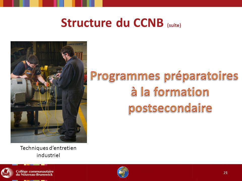 Structure du CCNB (suite) 21 Techniques dentretien industriel