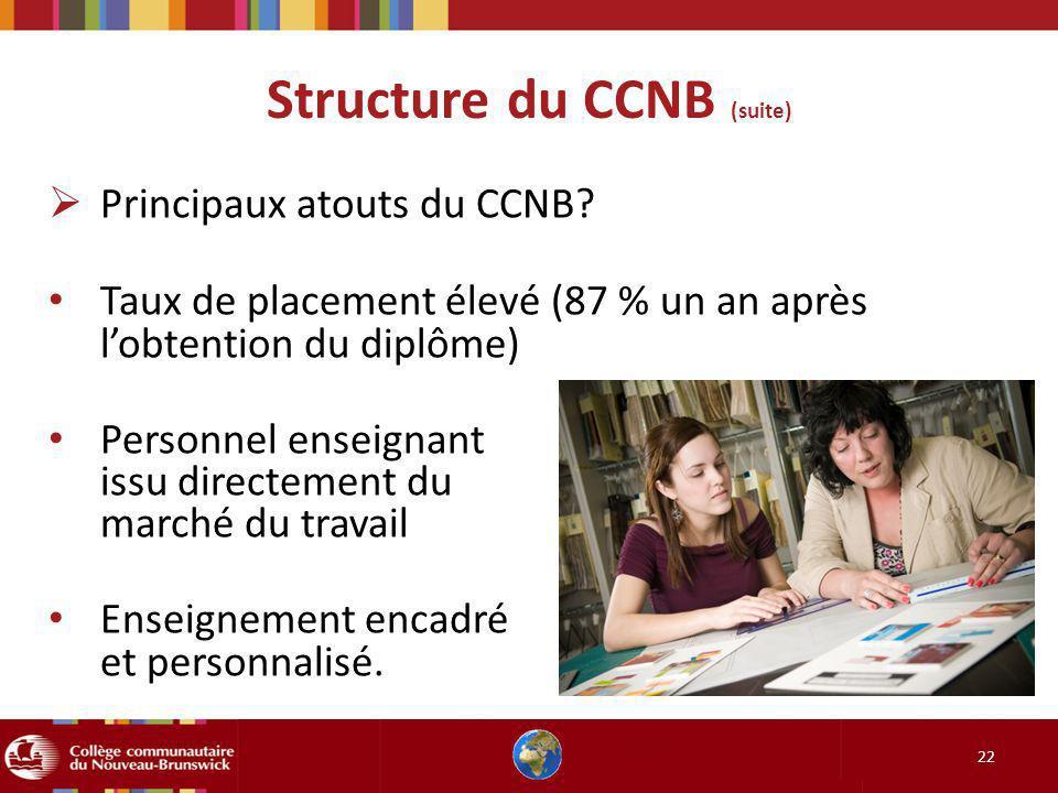 Structure du CCNB (suite) 22 Principaux atouts du CCNB? Taux de placement élevé (87 % un an après lobtention du diplôme) Personnel enseignant issu dir