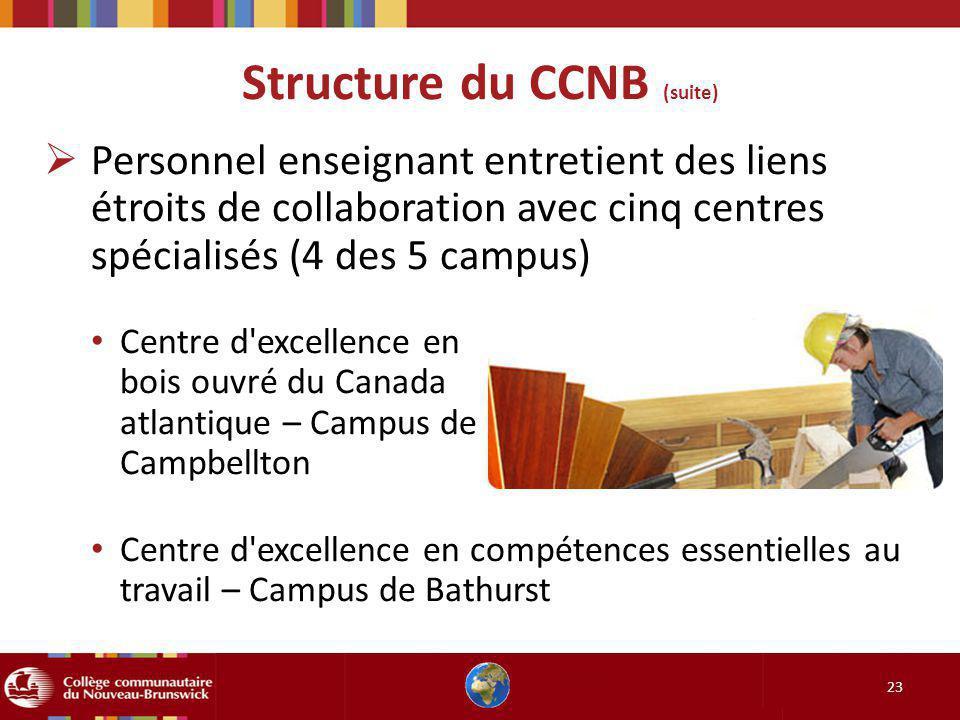 Structure du CCNB (suite) 23 Personnel enseignant entretient des liens étroits de collaboration avec cinq centres spécialisés (4 des 5 campus) Centre d excellence en bois ouvré du Canada atlantique – Campus de Campbellton Centre d excellence en compétences essentielles au travail – Campus de Bathurst
