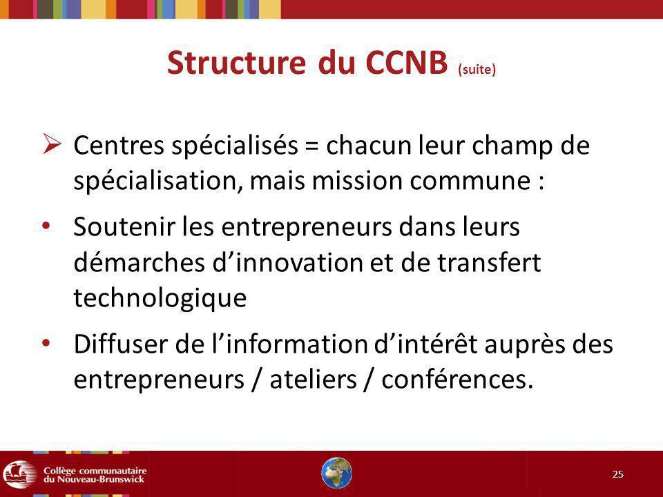 Structure du CCNB (suite) 25 Centres spécialisés = chacun leur champ de spécialisation, mais mission commune : Soutenir les entrepreneurs dans leurs d