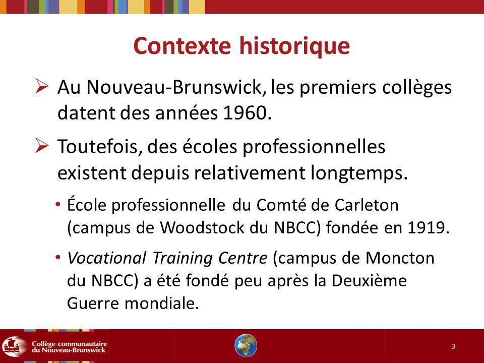 Contexte historique 3 Au Nouveau-Brunswick, les premiers collèges datent des années 1960. Toutefois, des écoles professionnelles existent depuis relat